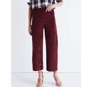 MADEWELL corduroy high rise wide leg crop jeans